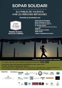 """Sopar Solidari, """"Els pobles de València amb les persones Refugiades""""."""