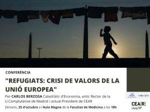 """Conferència  Carlos Berzosa """"Refugiats: Crisi de Valors de la Unió Europea""""."""