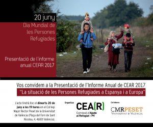 """Presentació de l'Informe Anual CEAR 2017 """"La situació de las persones refugiades a Espanya i Europa""""."""
