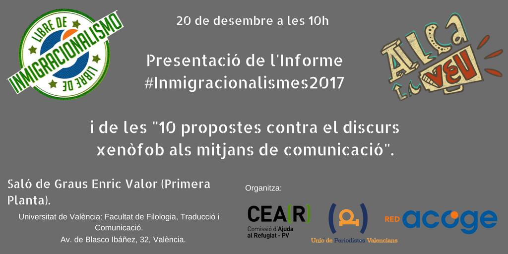 """20 de desembre a les 10h presentació """"10 propostes contra el discurs xenòfob als mitjans de comunicació"""""""